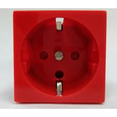 Розетка электрическая 2К+З,с защитными шторками, с механической блокировкой (красный)